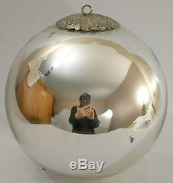 OLD GERMAN 7 KUGEL Silver Mercury Glass CHRISTMAS ORNAMENT ANTIQUE GERMANY