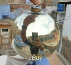 Original Vintage 6 Round Heavy Glass Silver Christmas Kugel / Ornament Germany