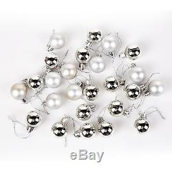 Pack of 25 Mini Miniature Small Shiny & Matte Christmas Tree Baubles Silver