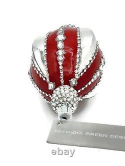 Patricia Breen Copenhagen Reflector Red Silver Drop Christmas Tree Ornament