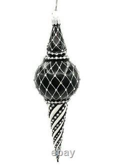 Patricia Breen Cullen Claus Black Silver Santa Jeweled Christmas Tree Ornament