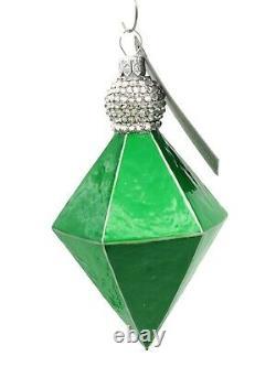 Patricia Breen Deco Reflector Green Silver Jeweled Christmas Tree Drop Ornament