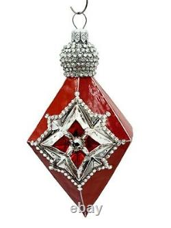 Patricia Breen Deco Reflector Red Silver Jeweled Christmas Tree Drop Ornament