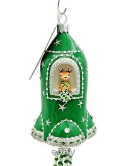Patricia Breen Elon Rocket Pine Green Reindeer Christmas Holiday Tree Ornament