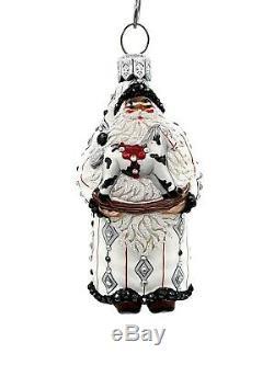 Patricia Breen Miniature Santa Claus Black Silver Christmas Holiday Ornament