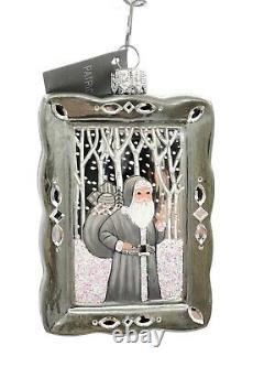 Patricia Breen Portrait Silver White Snow Santa Christmas Tree Holiday Ornament