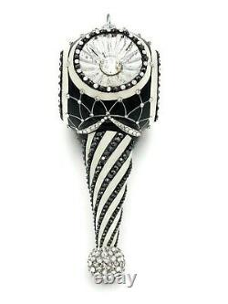 Patricia Breen Towle Reflector Black Silver Christmas Drop Ornament Tree Jeweled