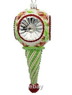 Patricia Breen Towle Reflector Ornament Poinsettia Silver Christmas Tree Jeweled