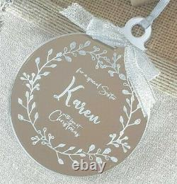 Personalised Baby's First Christmas Bauble Silver Tree Decoration Gift Xmas