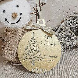 Personalised Engraved Christmas Bauble Gold or Silver Tree Decoration Gift Xmas