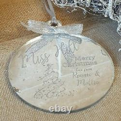 Personalised Engraved Christmas Bauble Silver Tree Decoration Gift Xmas Teacher