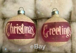 Pink Shiny Brite Silvered & Unsilvered withTINSEL WW II Era Xmas Ornaments WOW