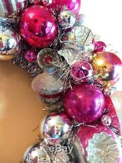 Pink & Silver Sparkle Vintage Splendor Christmas Ornament Wreath