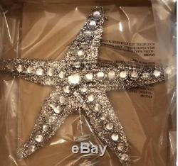 Pottery Barn 4Pc GLITTER STARFISH CHRISTMAS Tree Topper & 3 ORNAMENTS BLING