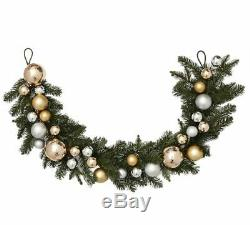 Pottery Barn INDOOR/OUTDOOR ORNAMENT PINE GARLAND-GOLD/SILVER10 FT. NEW