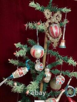 RARE Lg Antique PATRIOTIC CHRISTMAS ORNAMENT Embossed Glass & Tinsel Flag Motif