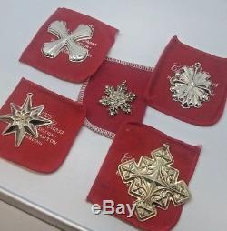 REED & BARTON CHRISTMAS ORNAMENTS Sterling Silver 1977'79'80