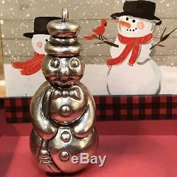 Rare 1992 Tiffany & Co. 925 Silver 3D Snowman Christmas Ornament