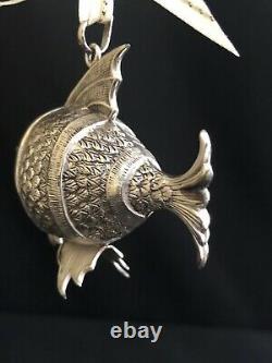 Rare Excellent! Cazenovia Rm Trush Sterling Silver Fish Puffy Ornament