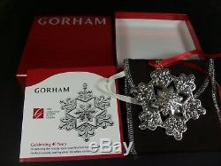 Rare Gorham 2009 Sterling Silver Snowflake Christmas Ornaments