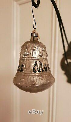 Rare Large Antique 1890's German Silver Bell Ornament Says Merry Christmas