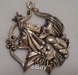 Rare Set of 3 Christmas Tree Ornaments Vintage Gorham Silver Plate Jesus Birth