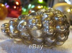 Rare Small Vtg German Kugel, Silver Grapes Christmas Decoration Ornament