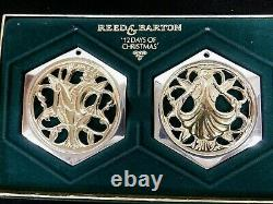 Reed and Barton 12 Days of Christmas Full Set Silver/Gold Ornaments 1983-1988