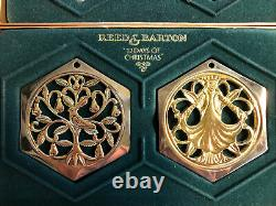 Reed and Barton 12 Days of Christmas Ornaments Complete in Boxes Gold/Silver