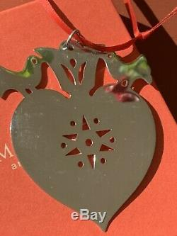 Retired James Avery 925SS Birds On A Heart Christmas Ornament Gift Box