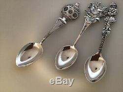 SET 3 Figural CHRISTMAS Spoons Sterling Silver Mayer Bros NO MONO Santa Ornament