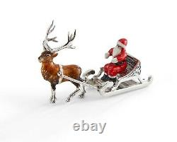 Saturno Sterling Silver and Enamel Father Christmas and Sledge
