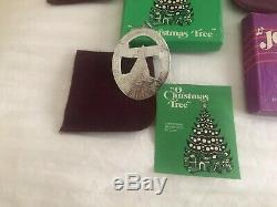 Set 4 Lunt Sterling Silver Christmas Ornaments 1976 77, 78,79 Music of Christmas