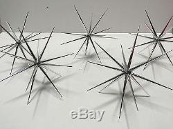 Set Of 12 8'' Silver Starburst Ornament Hanging Star Decoration Starbursts 8'