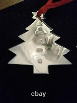 Set of 3 Sterling Silver Hallmark 925 Hanging Christmas Decorations