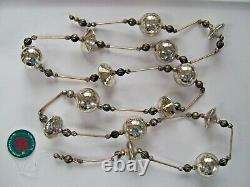 Set of 4 NWT 6' Silver Mercury Lined Glass Fancy Bead Christmas GARLAND