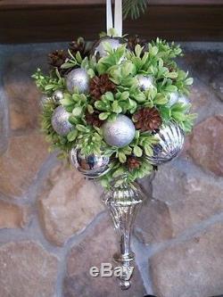 Silver Mercury Glass Pine Cones Kissing Ball Christmas Ornament glass Finial
