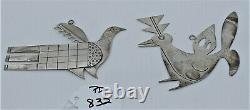 Silver Mike Bird Romero Christmas Ornaments Pendants San Juan Pueblo Pair Birds