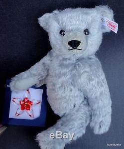 Steiff Poinsettia Teddy Bear w Swarovski Ornament 2007 Silver Mohair Plush 25 cm