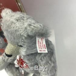 Steiff X Swarovski Poinsettia Ornament Christmas Bear Crystal in Ear EAN 681103