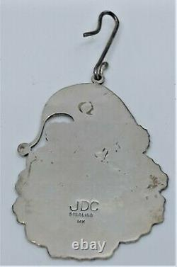 Sterling Silver & 14k Gold Christmas Santa Ornament Pendant JOSEPH DE VERN CORIZ