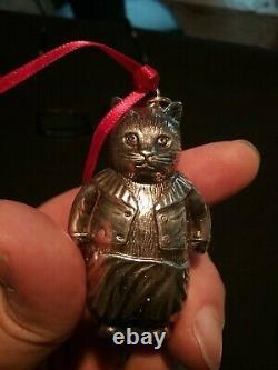 Sterling Silver Christmas Ornament Cazenovia Cat