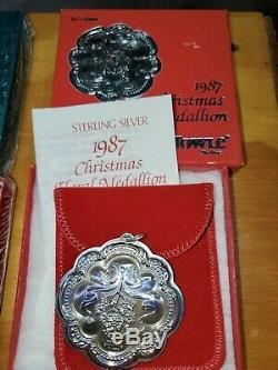 Sterling Silver Christmas Ornaments Towle. 7 Floral Medallions