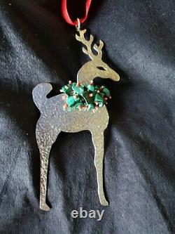 Sterling silver Christmas Ornament Reindeer By Emilia Castillo Large Stunning