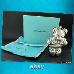 TIFFANY & Co Sterling Silver TEDDY BEAR Ornament / Signed & Dated 1990 Vintage