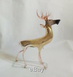 (T) Vintage 1920s German Silver Mercury Blown Glass Christmas Reindeer Ornament