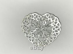 Tiffany&Co 3 Heart Snowflake Ornament Sterling Silver Christmas 1997