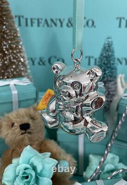 Tiffany&Co Bear Ornament Rattle Sterling Silver 2 W Pouch Christmas Shower Gift