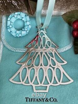 Tiffany&Co Christmas Tree Ornament Sterling Silver Holiday Pouch 1998 Vtg 3.5