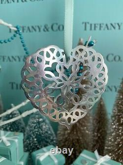 Tiffany&Co Heart Snowflake Ornament Sterling Silver Christmas 1997 W Pouch 3